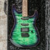 Tom Anderson Drop Top Hollow Natural Key Lime T-Purple Burst w/ Binding & Case