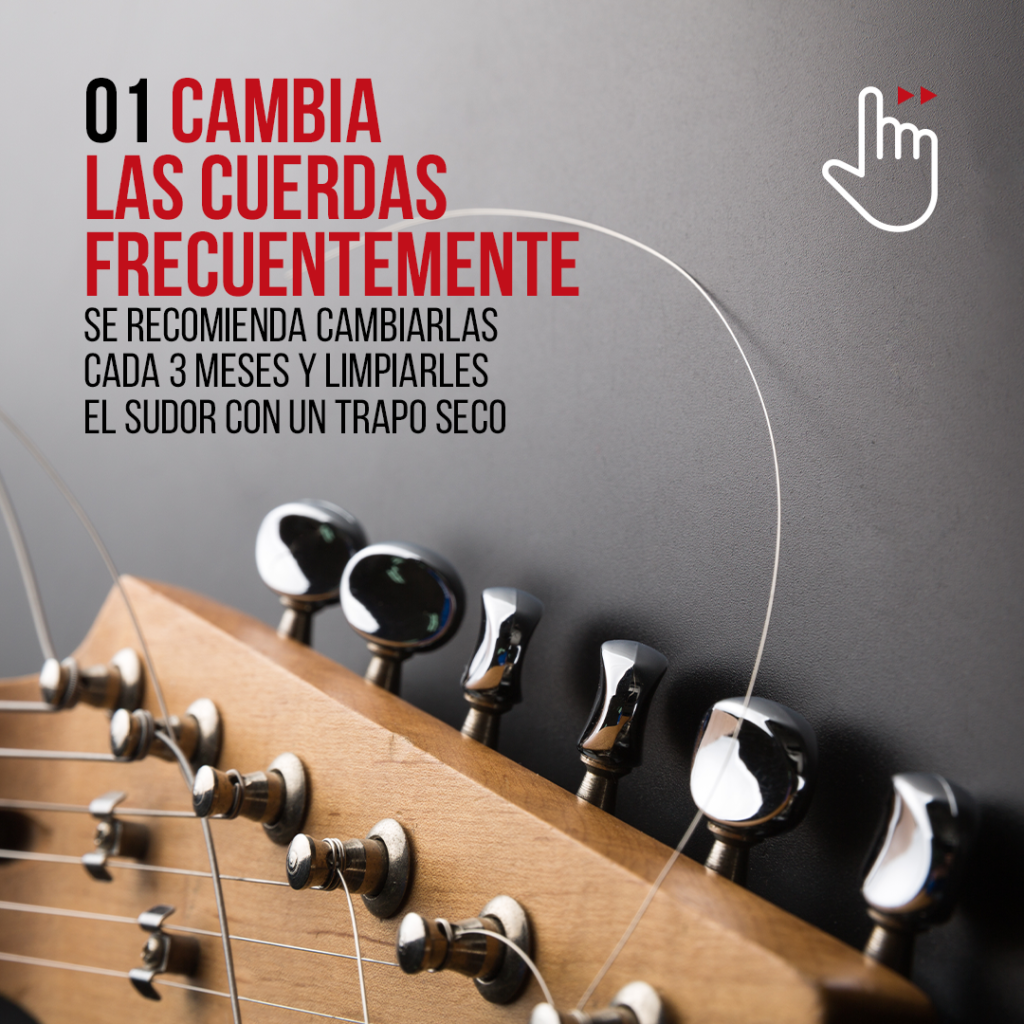 Para mejorar el sonido de tu guitarra eléctrica es imprescindible cambiar las cuerdas frecuentemente.