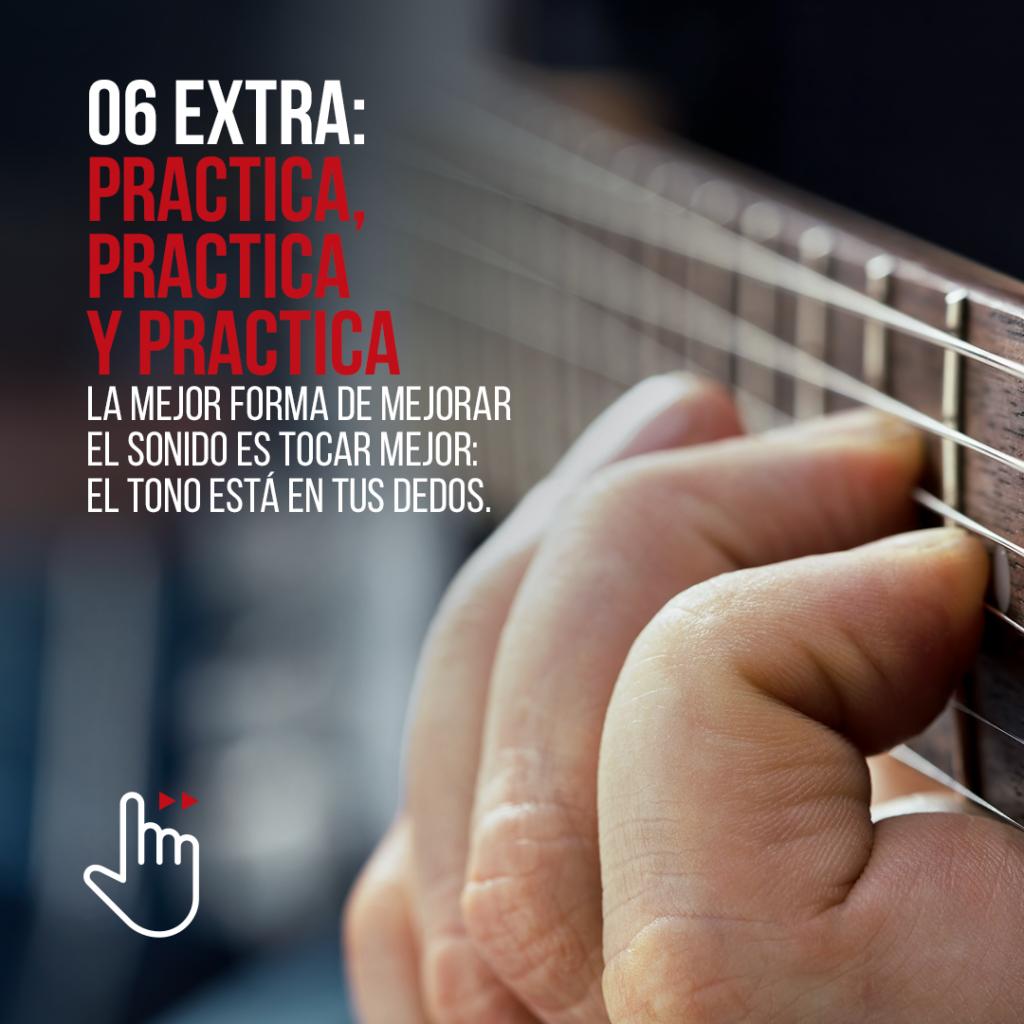 La mejor forma de hacer sonar bien una guitarra es tocando mejor. ¡Practica!